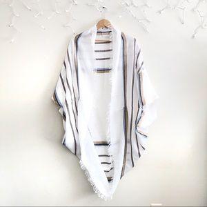 Free People White Acrylic woven oversize shrug OS